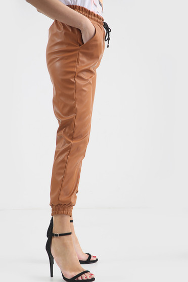 Nikki Faux Leather Casual Jogger Pants - Brown