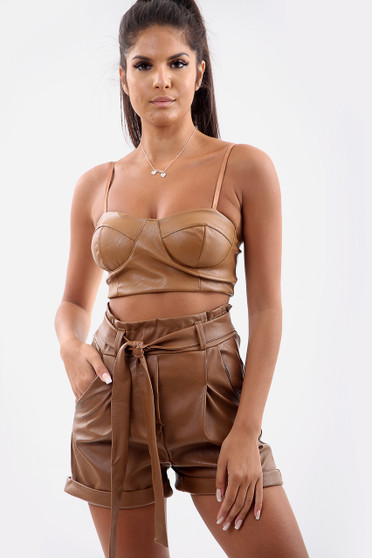 Faux Leather Belted Shorts - Brown