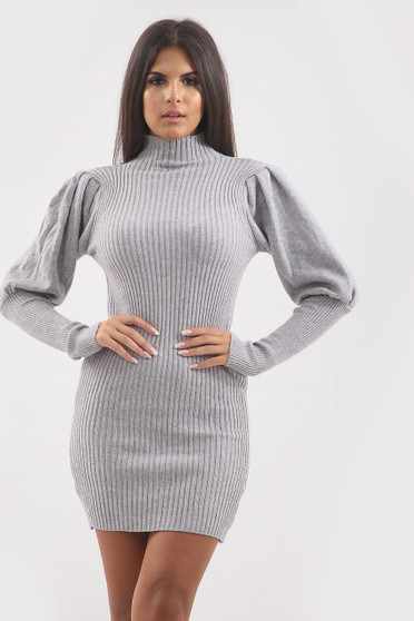 Heather High Neck Balloon Sleeve Knitted Dress -  Grey