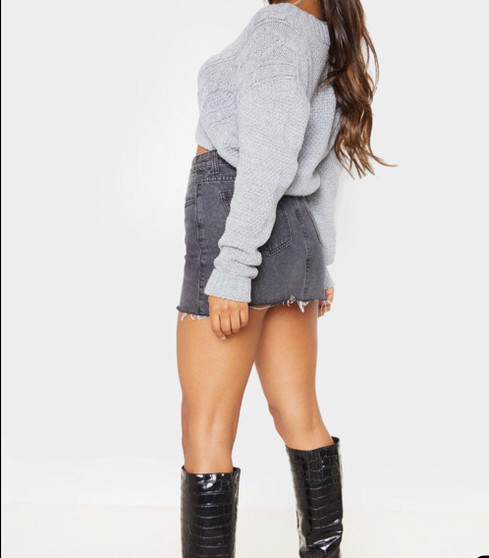 Lauren Chunky Knit Button Up Crop Cardigan - Grey