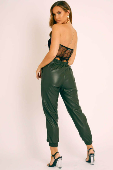 Nikki Faux Leather Casual Jogger Pants - Green