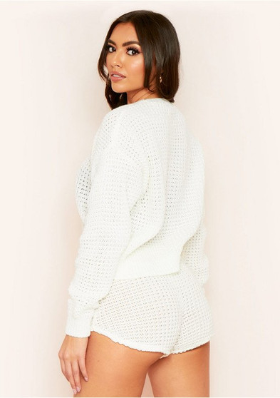 Kylie White Waffle Knit Crop Jumper And Short Co-ord Loungewear Set