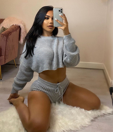 Kylie Grey Waffle Knit Crop Jumper And Short Co-ord Loungewear Set