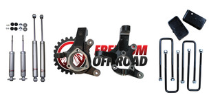 """3"""" Lift Spindles /  2"""" Rear Lift Blocks w/ U Bolts + Shocks #FO-G701F30+FO-U30120+FO-G403+FO-G301-RWD"""