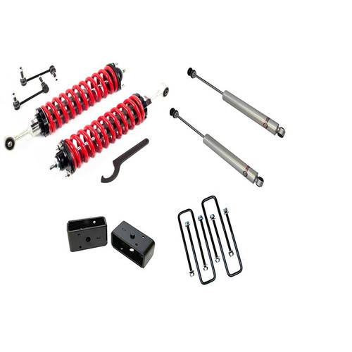 """2.5-5"""" Adjustable Coilovers / 3"""" Rear Blocks w/ U Bolts and Shocks #FO-T901-KIT"""