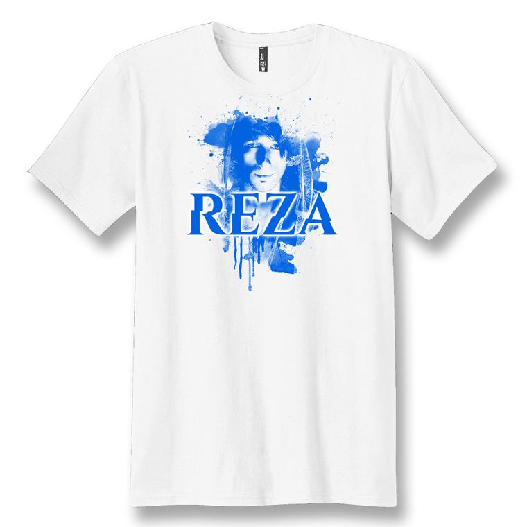 REZA   WHITE BLUE FACE T-SHIRT