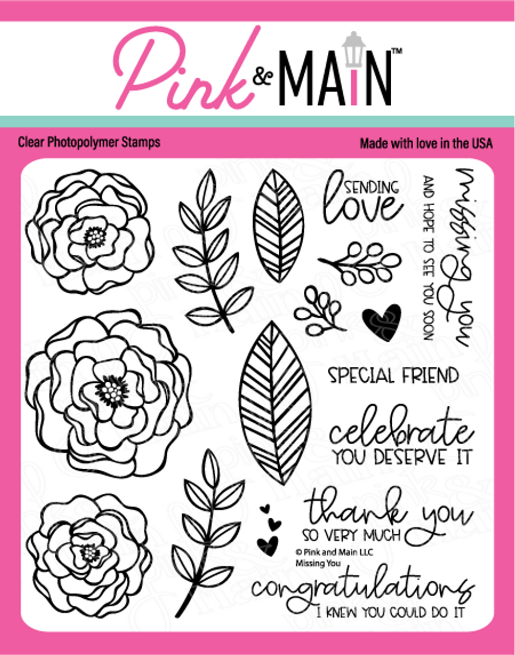 Pink and Main Missing You Stamp Set