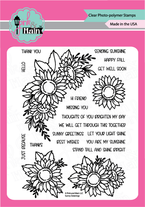 Pink and Main Sunny Greetings stamp