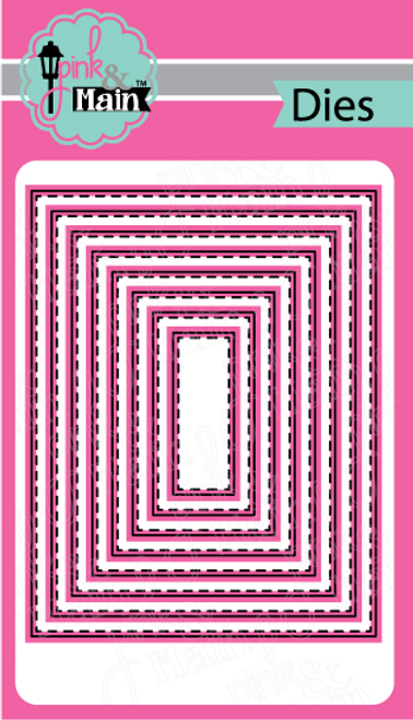 Pink and Main Stitched Rectangles 1