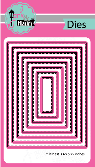 Pink and Main Stitched Rectangles 2