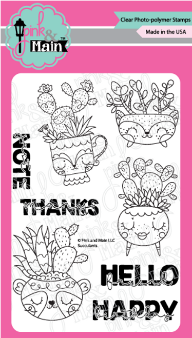 Pink and Main Succulents stamp