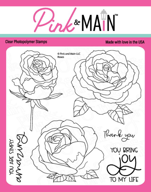 Pink and Main Roses stamp
