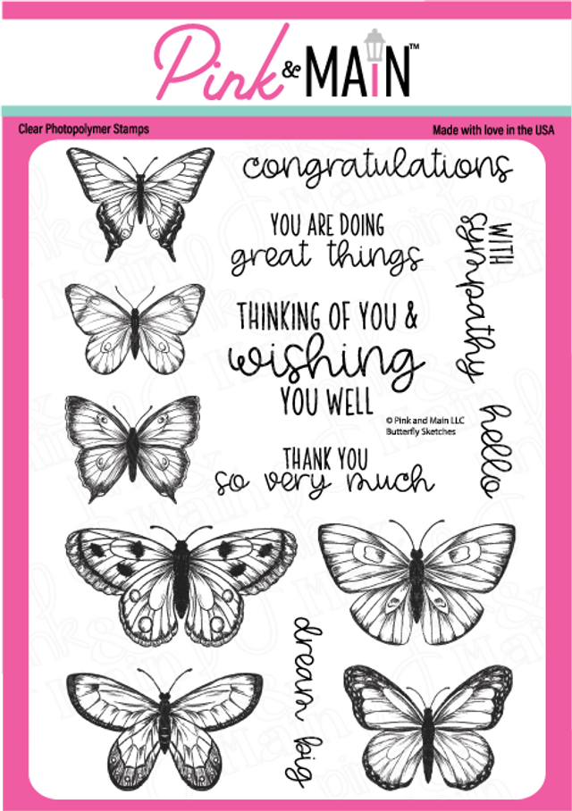 Pink and Main Butterfly Sketches stamp