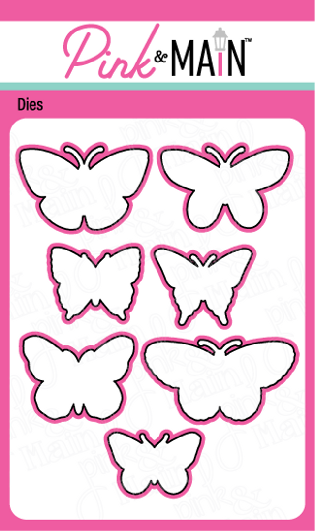 Pink and Main Butterfly sketches dies