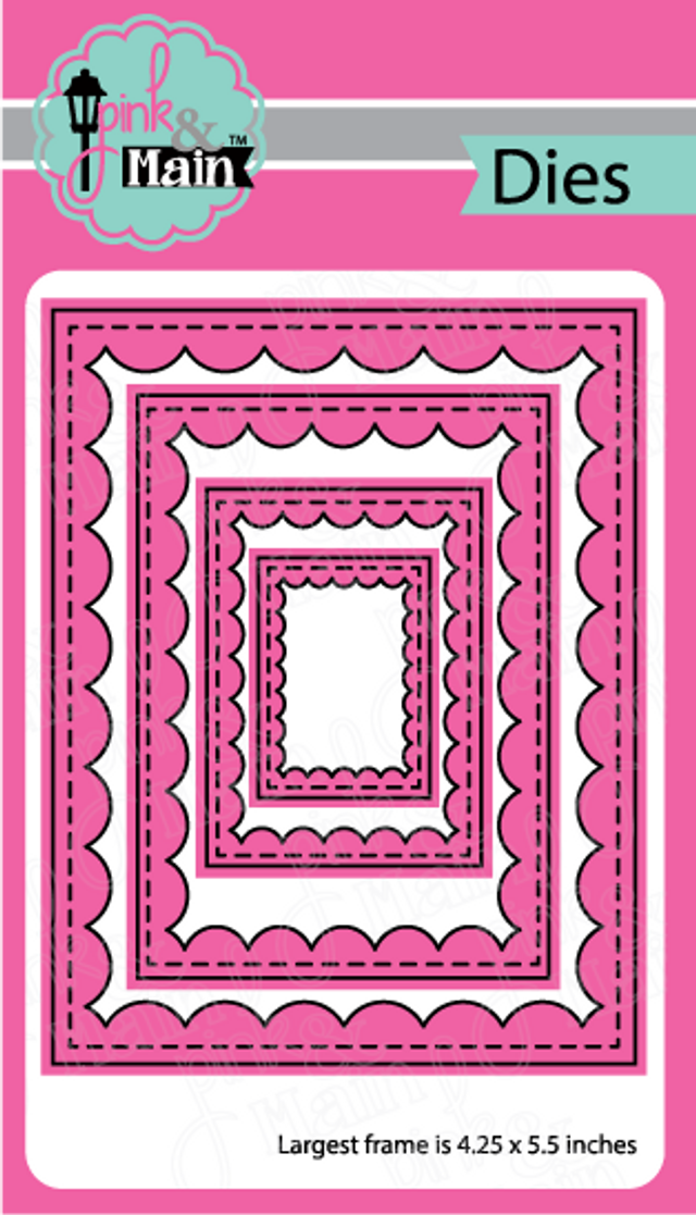 Pink and Main Reverse Scallop Rectangles