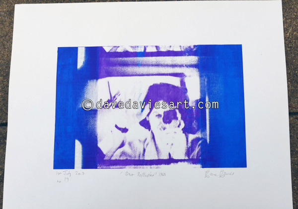 """DAVE REFLECTION 1965"" - purple/blue silkscreen  No.19 of 23"