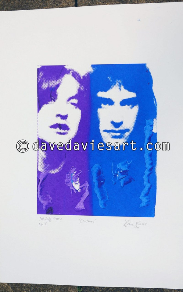 """BROTHERS"" - purple/blue silkscreen  No.1 of 30   SOLD!!"