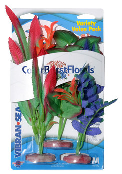 Blue Ribbon Pet Products Colorburst Florals Variety Pack Plants 2 Md & 1 Sm