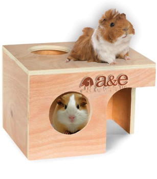A & E Cages Small Animal Hut Guinea Pig Wood 10 in X 8 3/8 in X 7 in