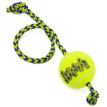 Kong Airdog Squeakair Tennis Ball With Rope Medium