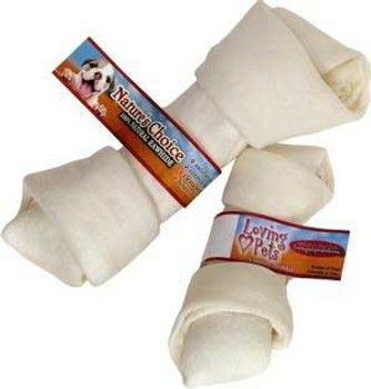 Loving Pet Natures Choice White Knotted Rawhide Bone 8-9in