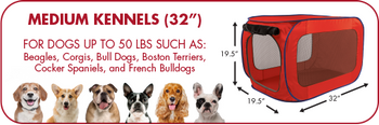 SpornSportpet Pop Open Kennel Medium Red Size 20x20x32 40-50lb
