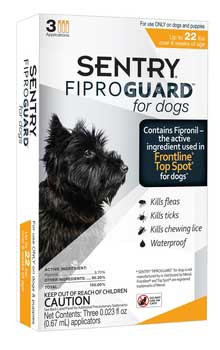 Sargents Sentry Fiproguard Dog Flea & Tick Squeeze-on Up To 22lb 3ct