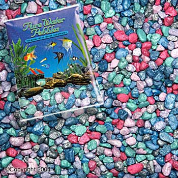 World Wide Imports Pure Water Pebbles Premium Fresh Water Substrates Rainbow Frost 5lb