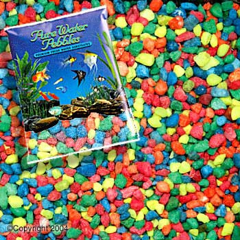 World Wide Imports Pure Water Pebbles Premium Fresh Water Substrates Neon Rainbow 5lb