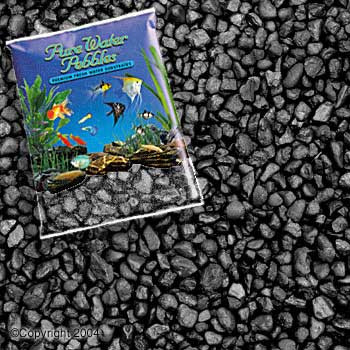 World Wide Imports Pure Water Pebbles Premium Fresh Water Substrates Jet Black 25lb
