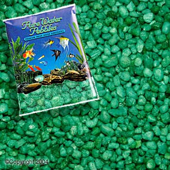 World Wide Imports Pure Water Pebbles Premium Fresh Water Substrates Emerald Green 25lb