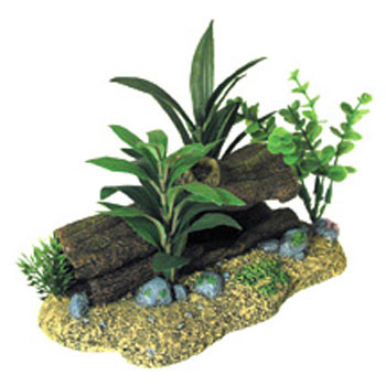 Blue Ribbon Exotic Environments Log Cavern With Plants 9x5.5x5in