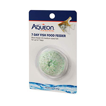 Aqueon vacation fish food feeders slowly dissolve to release food pellets that provide optimum nutrition and keep your fish fed while you are away. Simply drop tablet or tablets into the aquarium for feeding. After the fish food feeder has dissolved, perform a water change and siphon out any feeder remnants.ƒ?› Available in tropical or betta formula in a variety of sizesƒ?› Feed your fish for 3 to 7 days while you are away, determine the block size and quantity by the amount of fishƒ?› Nutritious food ingredients that fish are naturally attracted toƒ?› Formulated so that fish utilize more of what they eat and create less wasteƒ?› It is best to perform a water change after blocks have been consumed
