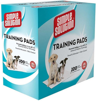 Simple Solution Original Training Pads are now 100% more absorbent and holds 10 times more liquid than standard economy pads. Accelerates training time by encouraging instinctive elimination. Absorbent core draws in wetness to prevent messy tracking. 5-layer construction traps more urine for repeat use or larger breed pets.