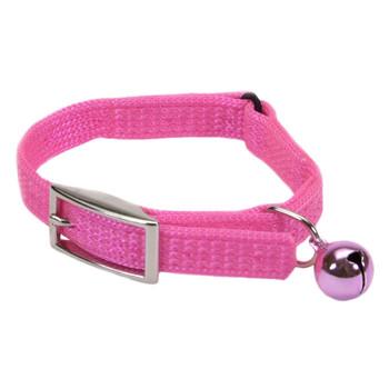 Coastal Sassy Snag-proof Nylon Safety Cat Collar Neon Pink 3/8x8in