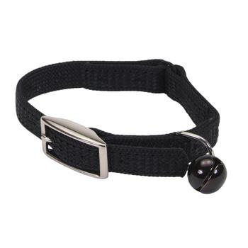 Coastal Sassy Snag-proof Nylon Safety Cat Collar Black 3/8x10in