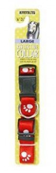 Aspen Pet Reflective Paw Adjustable Dog Collar Red 1in X 16-26in