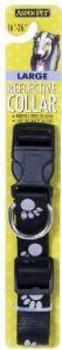 Aspen Pet Reflective Paw Adjustable Dog Collar Black 1in X 16-26in