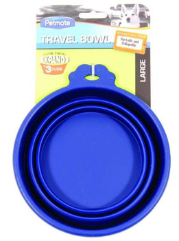 Petmate Silicone Round Travel Bowl - 3 Cup Blue