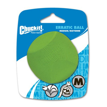 """Encourage a workout that stimulates the senses through the random bounce of the Chuckit! Erratic Ball. The Medium Erratic Ball is compatible with all Chuckit! Medium Ball Launchers. All Chuckit! Specialty Balls offer a variety of functions to meet"""""""