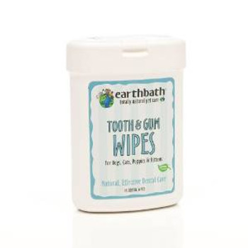 Earthbath Tooth & Gum Wipes For Dogs Cats Puppies & Kittens 25 Ct.