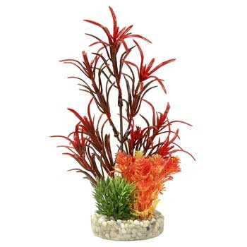Blue Ribbon Colorburst Florals Gravel Base Sea Grass Bouquet Plant - Red 6.5in