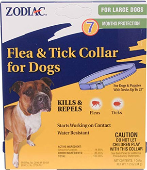 The new Zodiac Rabon collars kill fleas   ticks, are water resistant, and last for 7 months; 2 months longer than the previous collars.