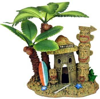 Blue Ribbon Exotic Environments Tahiti Village With Palm Tree 5.25x4x4in