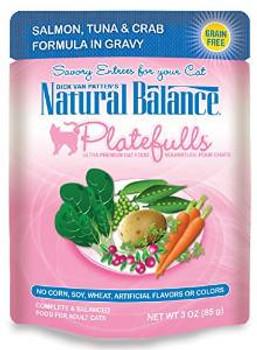 Natural Balance Platefulls Salmon Tuna & Crab Formula In Gravy Cat Food 24 3oz
