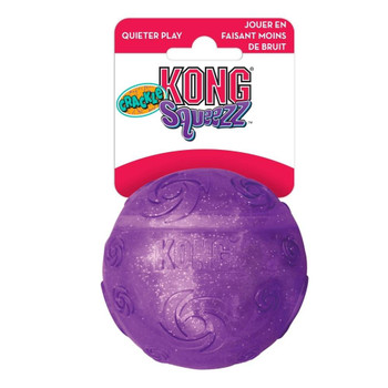 """KONG Crackle is a new twist on a fun and favorite line-KONG Squeezz. These toys have a unique and enticing crackle sound, which is ideal for quiet play. Squeezz Crackle is brightly colored and boasts an eye-catching sparkle. The flexible material is"""""""