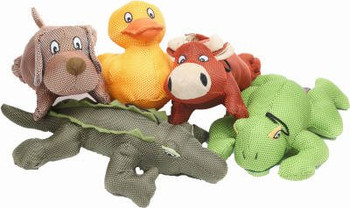 8-13, Large, Dazzler Dog Toy, Assorted, Tough Toy Design With A Poly Canvas Like Outer Covering That Helps Prolong The Life Of These Plush Filled Toys, Assorted Characters, 11in Cow, 12in Dog, 8in Duck, 13in Alligator   11in Frog.