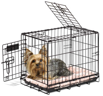 Precision Pet's? 2 Door Great Crate? is the ideal heavy-duty wire crate for your pet. Composed of durable heavy-gauge wire with rounded corners and closer wire spacing makes this crate safer and stronger. Designed with your pet's safety in mind, the Great Crate utilizes a patented 5-Point Locking mechanism to secure the door at five locations. Each Great Crate comes equipped with a durable, easy to clean polypropylene plastic pan and a divider panel that allows puppy owners to adjust the crate size as your puppy grows. Pet parents choose from an assortment of sizes to fit your pet's needs. For storage or travel, the 2 Door Great Crate easily folds flat and features an easy carry handle for added convenience. Dimensions: 19 X 12 X 15
