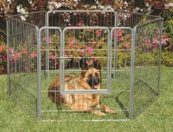 Precision Courtyard Kennel Silver Crackle 38inc