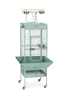 Prevue Pet Products Wrought Iron Select Cage in Sage Green offers quality craftsmanship at an affordable cost. Constructed of wrought iron with a cagetop playstand to keep your bird entertained and content, the heavy-duty push button lock keeps your bird securely inside its cage when playtime is over. This select bird cage also includes four stainless steel cups, two wood perches and a castered stand for portability. Both trays and bottom grille are removable for ease of cleaning while the rounded corner seed guards control mess around the cage. Our Wrought Iron Select Cage in Sage Green measures 18 long, 18 wide, 57 high with 3/4 wire spacing.